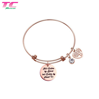 Adjustable Rose Gold Stainless Steel Jewelry, Bracelets For Women, Heart Round Bangle