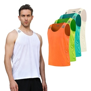 wholesale 100% polyester mens sports sleeveless reflective running mesh tank top vest