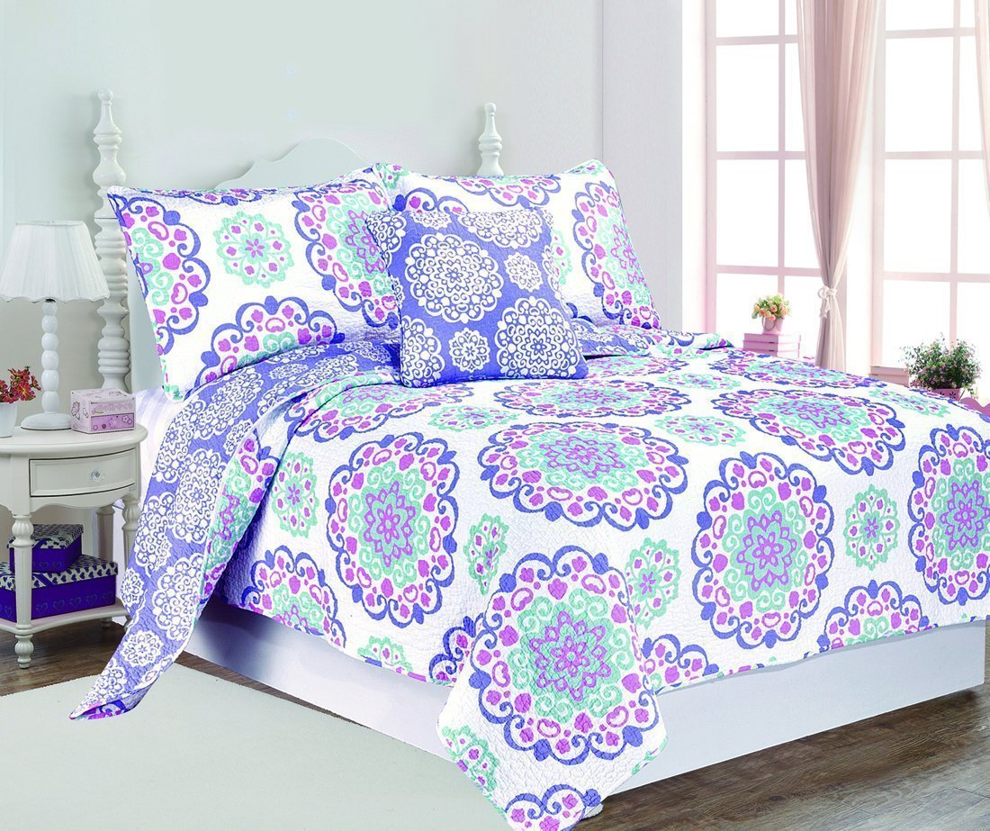 3pc Girls Medallion Quilt Twin Set, Bohemian Boho Chic Flower Themed, Floral Heart Swirls Pattern, Cute Flowers Mandala Motif Bedding, White Teal Blue Lavender Plum Violet Pink