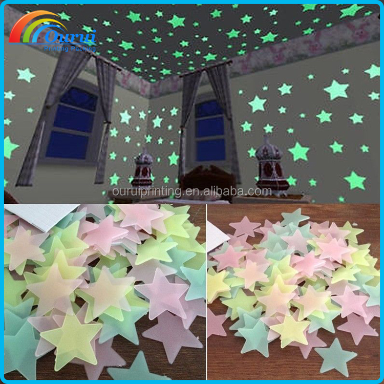 Custom shape glowing dark ceiling stickers