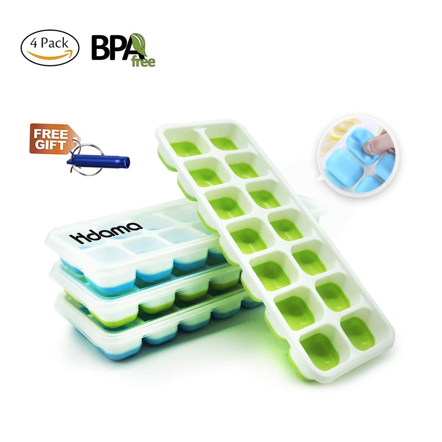 Ice Cube Trays, Silicone Ice Cube Tray with Lids BPA Free, Easy Release Large Cubes Best Ice Trays with No Spill Cover Flexible and Reusable (4 Pack)
