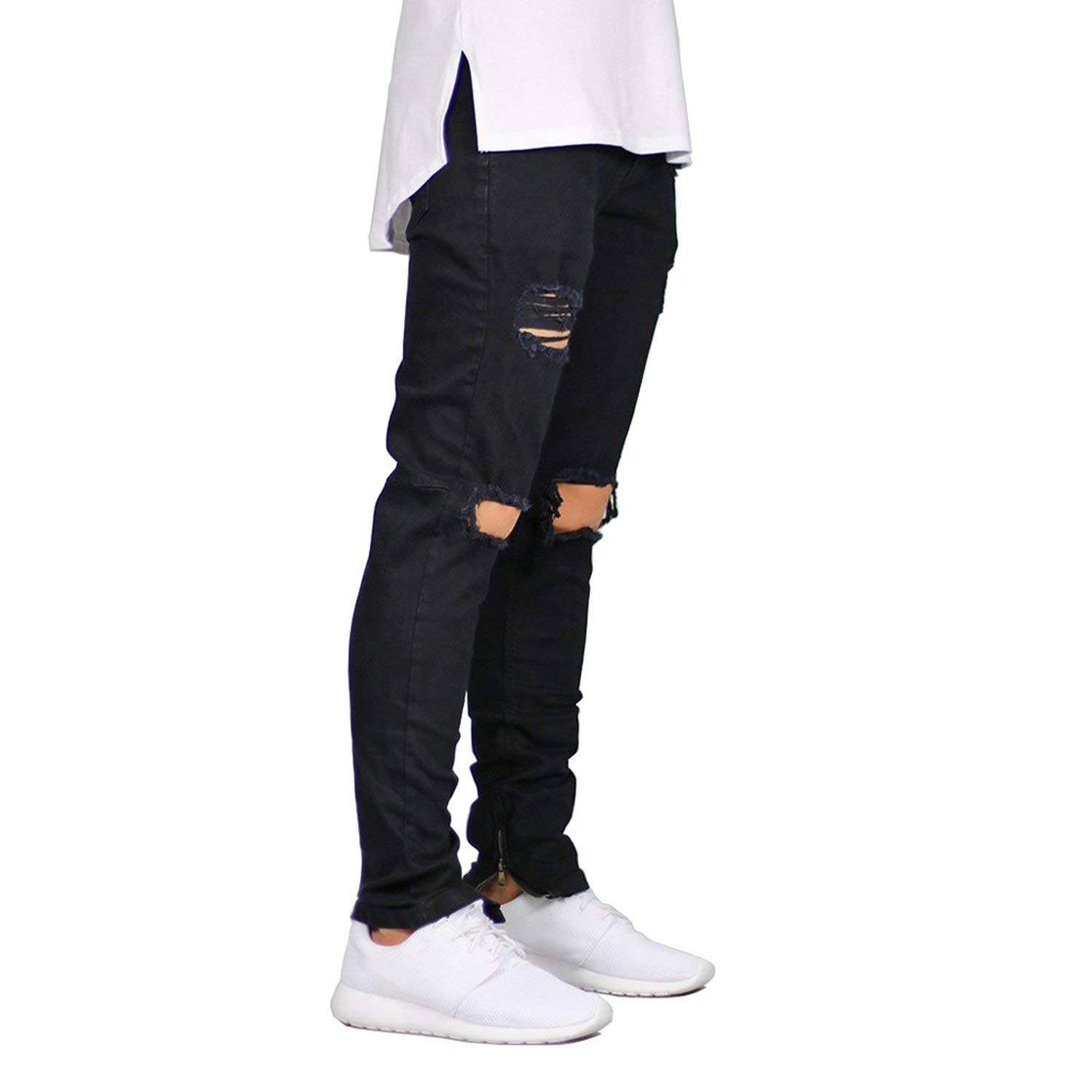 Memoriesed Men Jeans Stretch Destroyed Ripped Design Fashion Ankle Zipper Skinny Jeans for Men