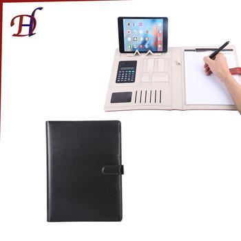 Custom Pu Leather Portfolio File Folder Promotional Gift A4 A5 Pu Leather Notebook ...
