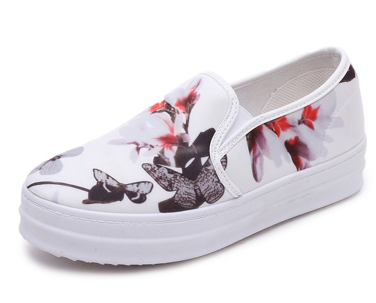 4503698af8bd Buy Black White Floral Womens Platform Sneakers Slip On Flower Platform  Shoes Ladies Flats With Thick Soles For Women Autumn Winter in Cheap Price  on ...