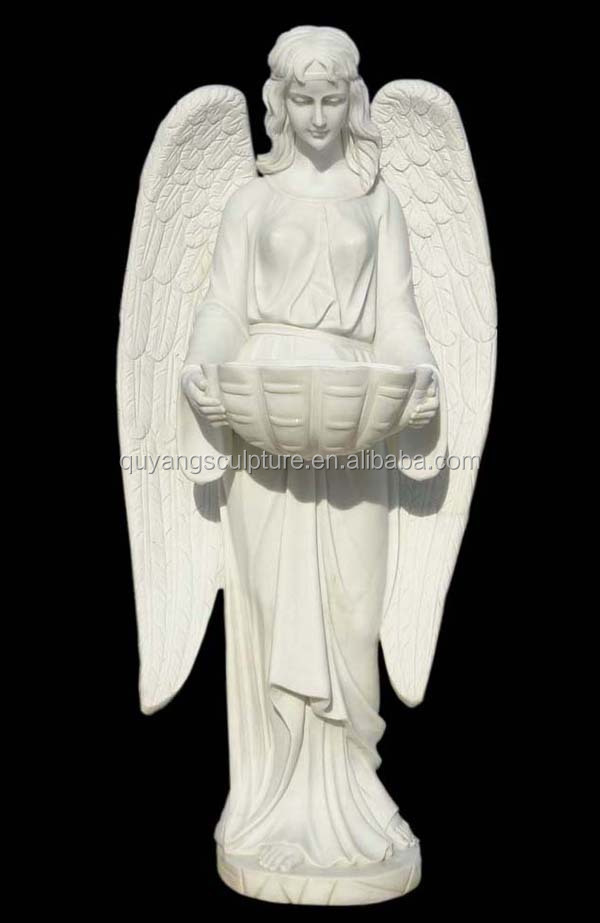 White Carved Marble Garden Angel Statue