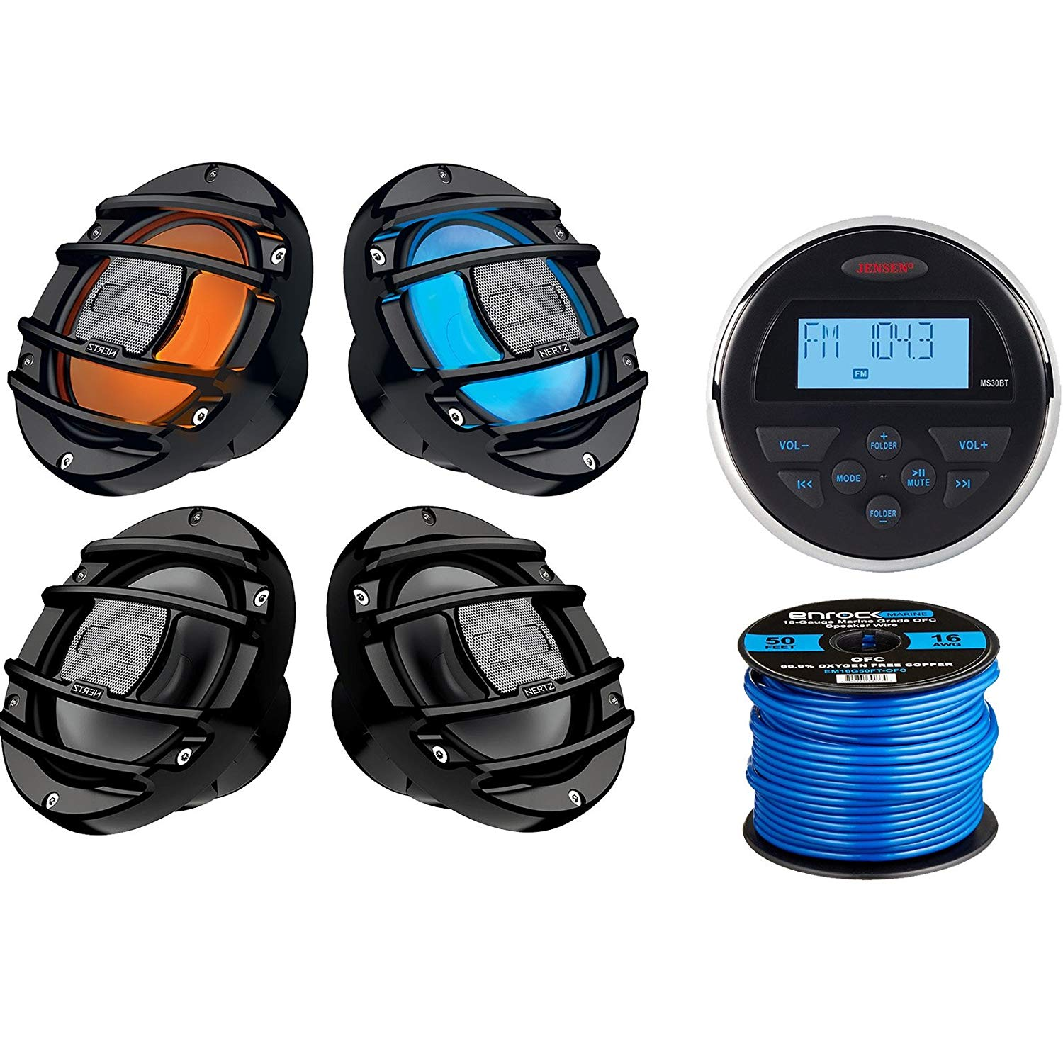 "Jensen MS30BTR Mechless Compact Waterproof Stereo w/Bluetooth, 2 x Hertz Audio 6.5"" Marine Coaxial Speakers w/RGB Lighting (B), 2 x Hertz 6.5"" Powersport Speakers (B), 50Ft 16-Gauge Speaker Wire"