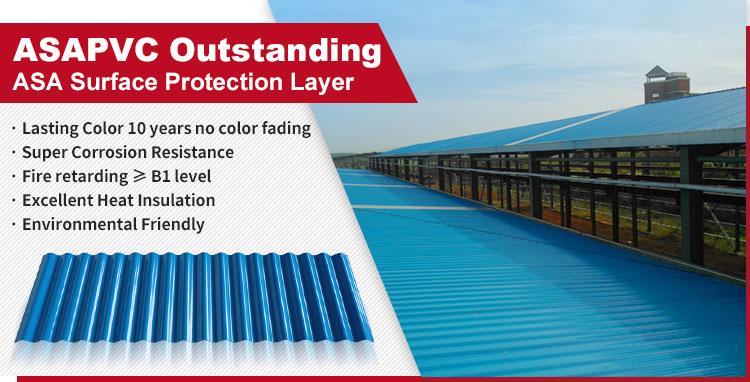 Anti-corosion plastica tegola ondulato nessuno sbiadisc di colore di plastica di copertura foglio di apvc coperture foglio di plastica in pvc piastrelle