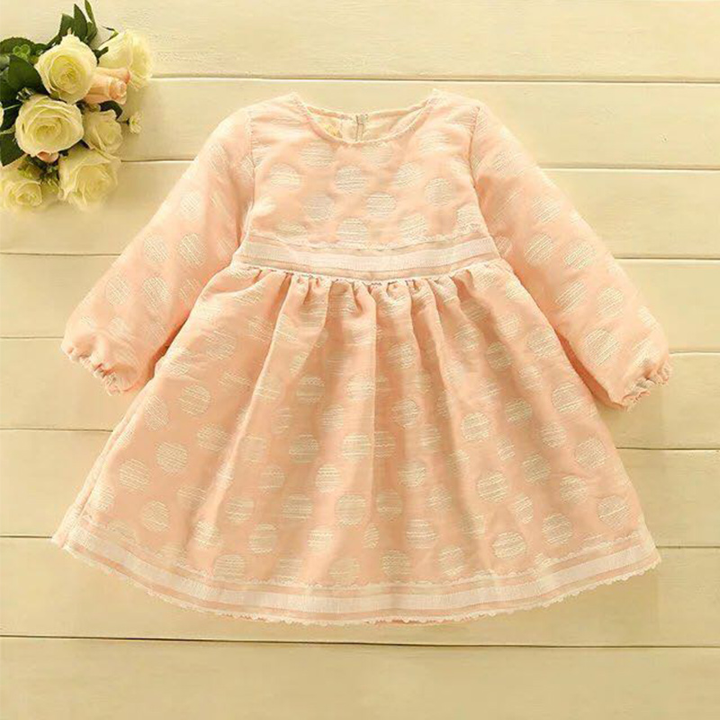 2017 NEW Peru Children girl's winter warm party dress korea girl's fashion Pink and Blue dress children long sleeves clothes
