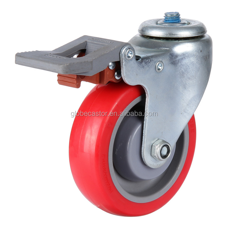 Medium 3 inch industrial screw type caster wheel, fixed or swivel caster