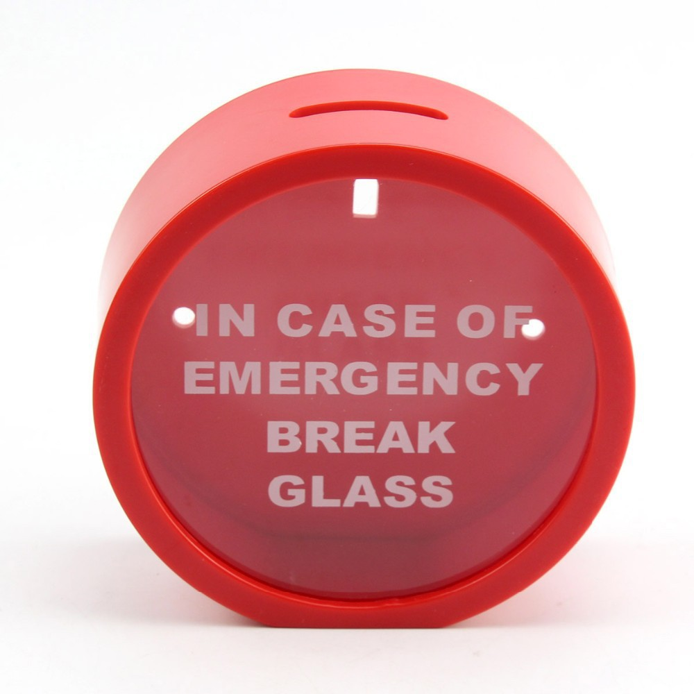 2020 12 Cm Rood In Geval Van Nood Break Glass Coin Piggy Bank Money Saving Box Case
