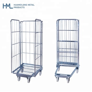 Hot sale 3-side galvanized warehouse tube storage foldable a frame durable industrial steel wire roll cage