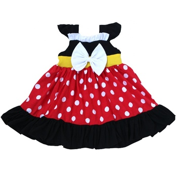 Frock Design Polka Dots Dress Summer Children Cotton Baby Cartoon Dress Shoulder Strap Girls Dresses