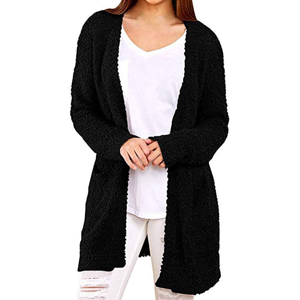 Cardigan Sweaters,POTO Women's Warm Wool Pockets Cardigan Coat Sweater Open Front Sweatshirt Tops Blouse Outwear