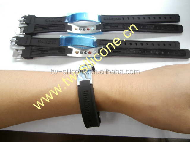 New design bio magnetic bracelet Stainless Steel Silicone negative ion bracelet