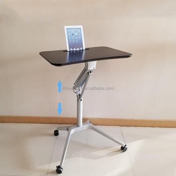 Pneumatic Sit Stand Height Adjustable Rolling Laptop Cart Mobile Desk  Workstation