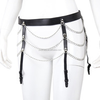 Low Waist Chain Garter Bodycon Leather Panties Fetish Tube Kit Restraint