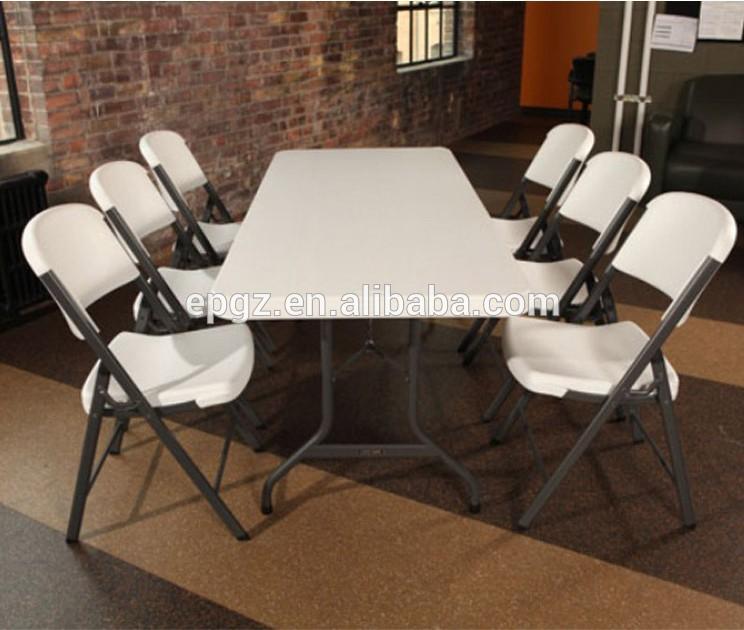 Blanco de pl stico plegable mesa y sillas para banquetes for Mesas de jardin de plastico