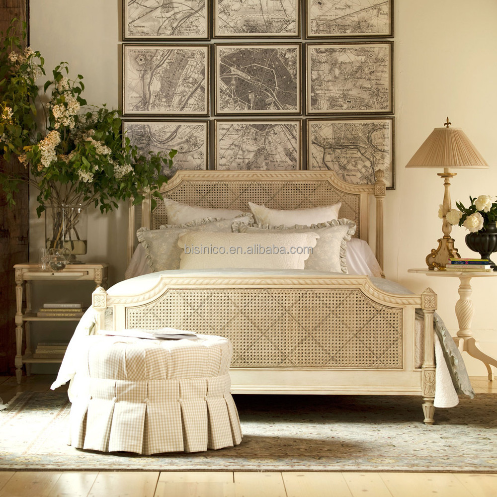 provincial vintage wood carving bedroom set french palace style rattan