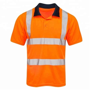 Wholesale S-5XL Manufacturer Polyester Traffic Roadway Safety Reflective Orange Workwear T shirt Tee Top with Reflective