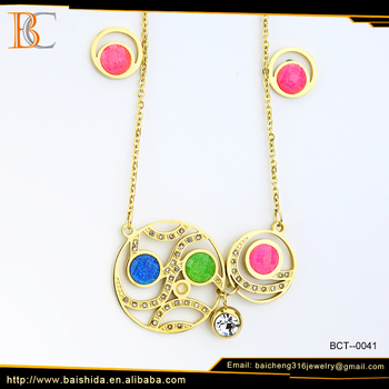 jewelry in Stainless Steel Jewelry bright stone color necklace and earring sets alibaba supplier