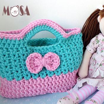 Häkeln Grün Heißer Rosa Bogen Handtasche Für Mädchen Weihnachten