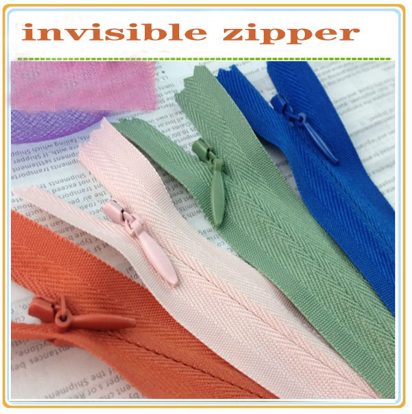 wholesale close end invisible coil lace zippers with waterdrop pull for bags and women dresses