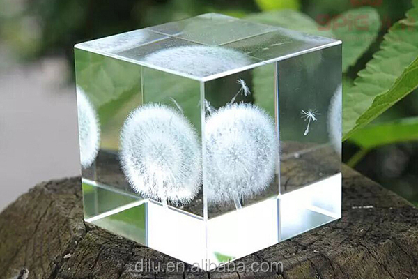 Wholesale crystal engraving dandelion k9 blank crystal cube 3d laser engraved glass cube engraving