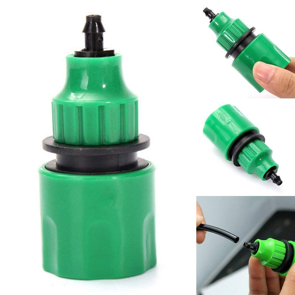 Tubwair 2Packs Good Sealing Garden Water Hose Quick Connector,Water Hose Micro Watering Irrigation Adapter Connector Pipe Adapter Fitting for 4/7mm 8/11mm Micro Hose(Green)