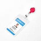 Huacheng plastic id card holder simple sleeve with lanyard lace
