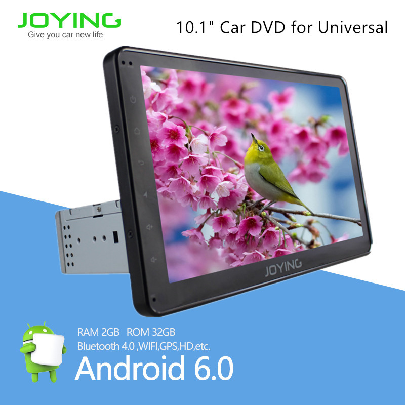 Touch Screen 10.1 Inch Single 1 Din Android6.0 Car Stereo With Bluetooth Wifi Indash Joying Android
