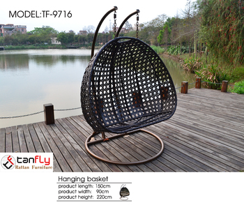 Outdoor 2 Person Garden Hanging Chair Grey Rattan All Color Cushion