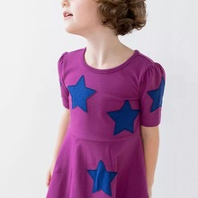 high quality baby dress girls short sleeve knit wholesale price with stars patches