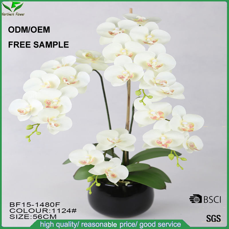 Artificial Flower white orchid potted plant phalaenopsis Including black ceramic Vase