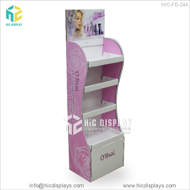 HIC four tiers cardboard cosmetic display showcase, cardoard cosmetic display unit