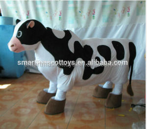China handmade 2 person mascot costumes with cooling fan 2 person cow mascot for adult