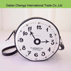 Popular embroidery clock shaped novelty women pu sling bag