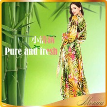 long dress chiffon new style Leaves flower xxl size women casual dress plus size women clothing