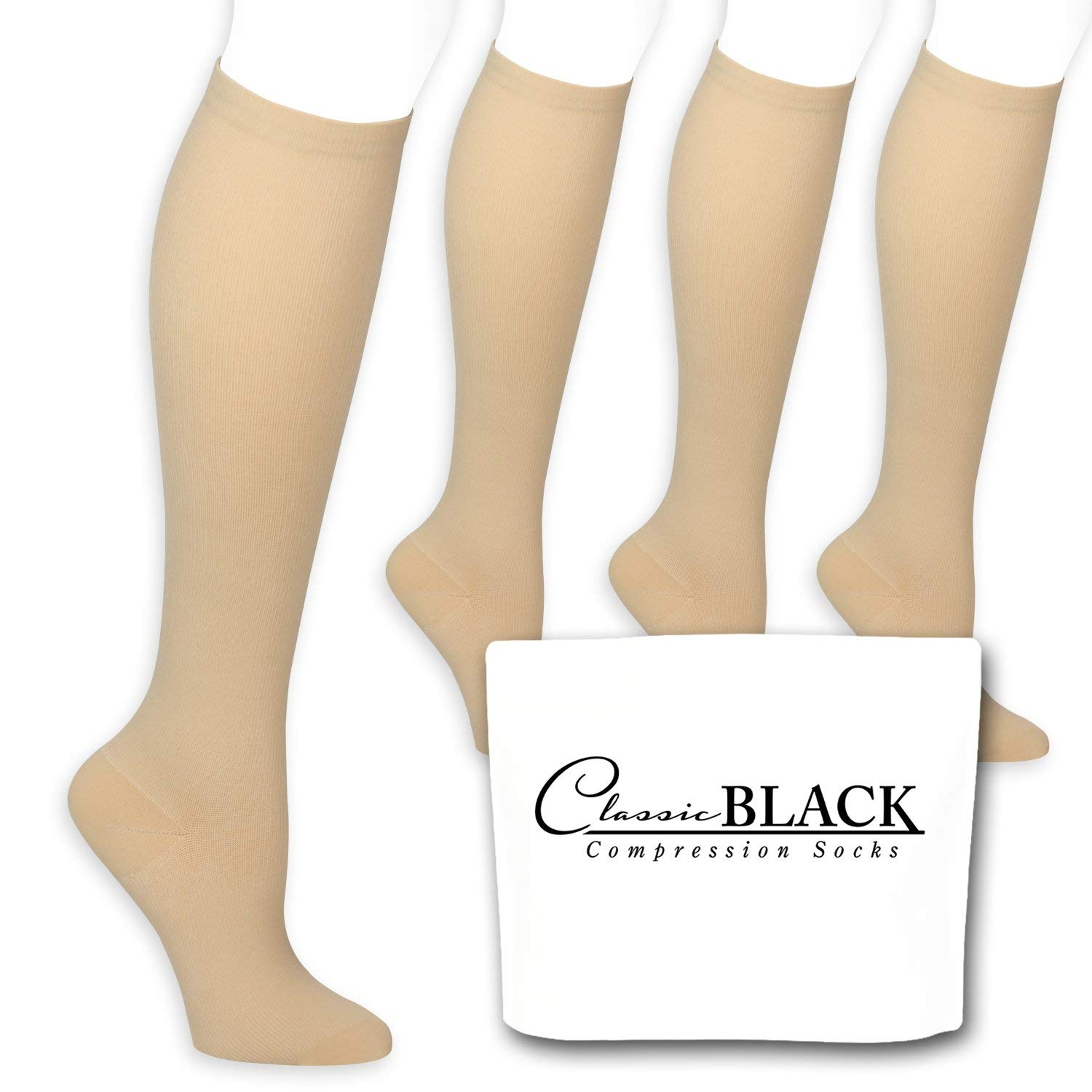 ac39c3381e Get Quotations · Classic Black Beige/Tan Color Knee Graduated Compression  Socks 15-20 mmHg for Women