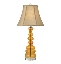 Modern style yellow glass class A crystal fabric lamp shade desk table lamps