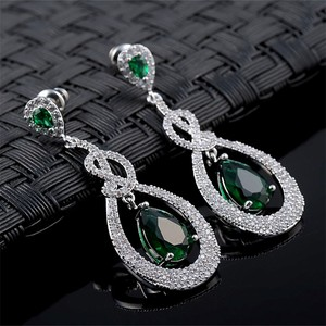 green blue red cubic zircon stud drop earring bridal wholesale tassel earrings