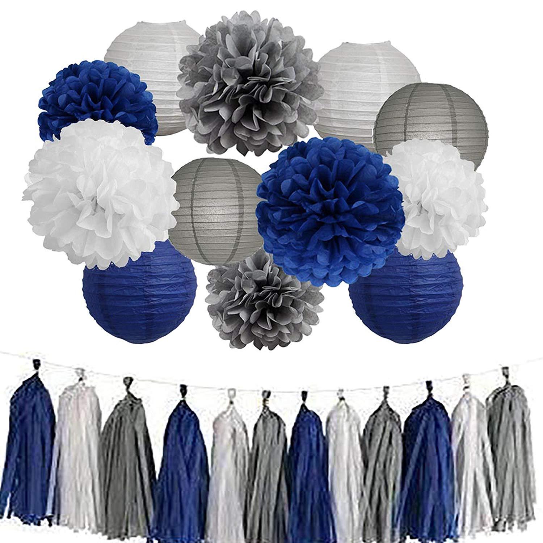 15Pcs Bridal Shower Decorations Navy Blue White Grey Tissue Pom Poms Paper Lanterns Tassel Garland for Birthday Party Decor Wedding Decoration/Baby Shower Decoration