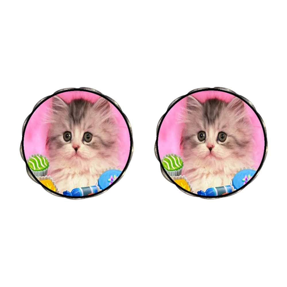 5f6cae3486 Get Quotations · GiftJewelryShop Bronze Retro Style Naughty Kitten Photo  Clip On Earrings Flower Earrings 12mm Diameter
