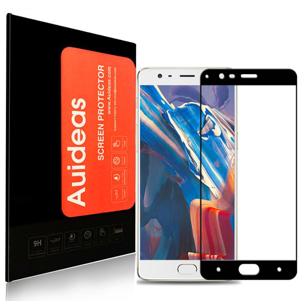 OnePlus 3 / OnePlus 3T Screen Protector, Auideas Tempered Glass Full coverage [Case Friendly][3D Curved Protection]HD Clear Tempered Glass Screen protector For OnePlus 3 / OnePlus 3T - black