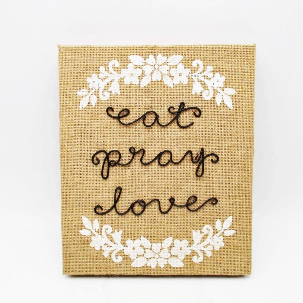 Burlap Cover Metal Wire Letters Wooden