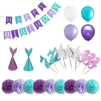 Birthday Baby Shower Little Mermaid Party Supplies Mermaid Birthday Party Ideas Buy Party Decoration Mermaid Party Decoration Paper Pom Poms Product