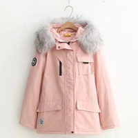 Japanese style college student's style pure color big pocket big wool collar long sleeve cotton-padded young girls' jacket
