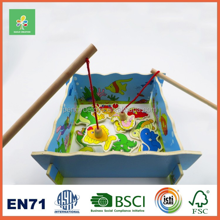 Wood fishing toys and games children for sale