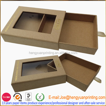 Eco Friendly Packaging Box Kraft Paper Drawer Box With Window Ch940 - Buy  Eco Friendly Packaging Box,Brown Kraft Paper Box,Box With Pull-out Drawer