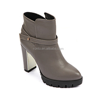 Runtoo stylish high quality handmade genuine leather shoes gray ladies winter ankle high heel boots wholesale from China