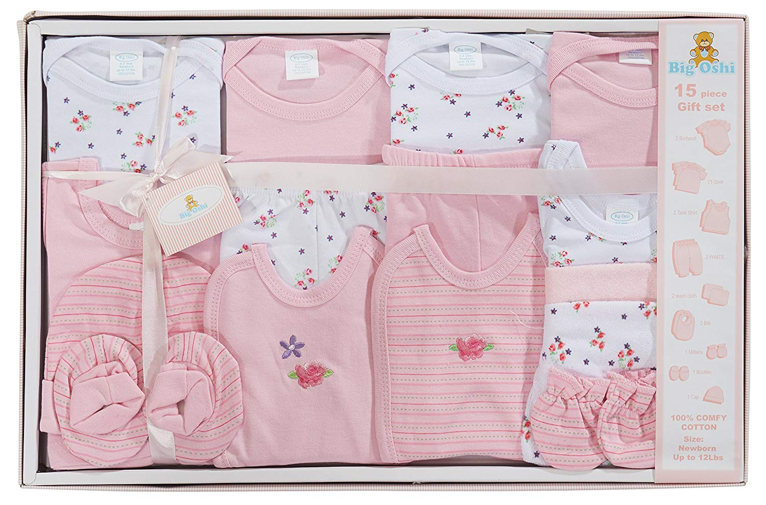Big Oshi 15 Piece Layette Newborn Baby Gift Set for Girls - Great Baby Shower or Registry Gift Box to Welcome a New Arrival - All Essentials Including: Bodysuits, Shirts, Pants, Bibs, and More, Pink